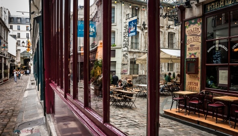 Reflections from restaurant window captured during one of my many walks thru Paris.