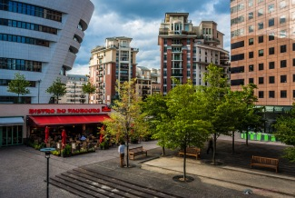 Business and residential areas intertwine in this modern urban neighbourhood.